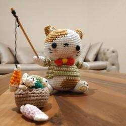 Amigurumi El Örgüsü Kedi Balık Oyuncak Set